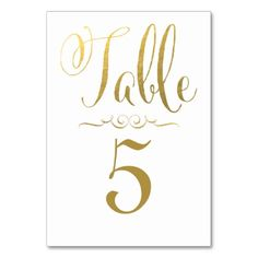 Wedding Table Number Cards Gold Foil Personalized Table Cards