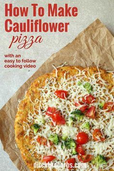 Watch the quick video how to make cauliflower pizza. Low carb, grain free, gluten free and super healthy.   ditchthecarbs.com via @ditchthecarbs