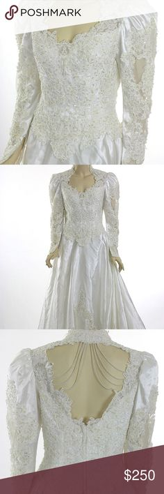 Wedding dress Vintage '80's sequin beaded lace wedding dress, white, pearl beading with sequin throughout over alencon lace. Draped pearl beads at the back shoulders, long sleeved, polyester satin, tulle lined. Not sure of the size but I think a size 4 with alterations done. Dress was cleaned and preserved well. May have small stains but overall in great shape! Make an offer! Dresses Wedding