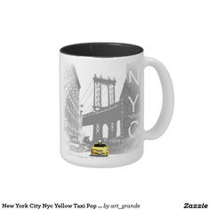 New York City Nyc Yellow Taxi Pop Art Two-Tone Coffee Mug