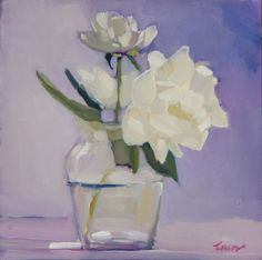 'Whisper White Peonies' – original floral still life oil painting of white peonies in a glass vase by New York fine artist Maryann Lucas Still Life Flowers, Still Life Oil Painting, Floral Artwork, White Peonies, Arte Floral, Paintings I Love, Flower Art, Fine Art, Newport