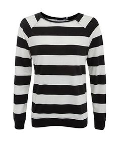 Black Pattern (Black) Black and White Wide Stripe Sweater | 273634509 | New Look