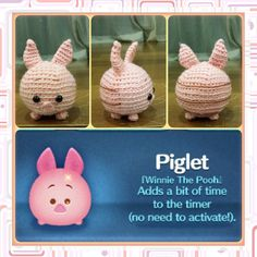 Handmade Tsum Tsum Amigurumi for Winnie the Pooh by uDezignCrafts $30.00 key chain size