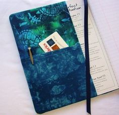 Hand Dyed Fabric Journal Cover SEA TURTLES by RubyMountainDyeWorks
