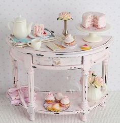 ♔ Miniature Shabby Pink Side Table with Tea Time by CuteinMiniature