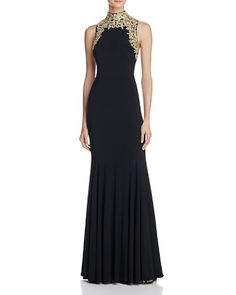 $AQUA Embroidered Mock Neck Gown - Bloomingdale's