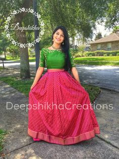 Our beautiful bride to be in DeepshikhaCreations for her Mehendi ceremony :) 04 August 2016 29 November 2016 Half Saree Designs, Lehenga Designs, Blouse Designs, Dress Designs, Lehenga Gown, Anarkali Dress, Indian Attire, Indian Outfits, Indian Wear