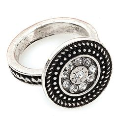 CENTRAL PARK SIZE 6 Item #: USML300106 Sparkling rhinestones are surrounded in antique silver in this eye-catching ring. Your Price:$35.00