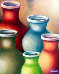 oleos jarras - Buscar con Google Pastel Drawing, Painting & Drawing, Watercolor Landscape, Watercolor Paintings, Pinturas Color Pastel, Aboriginal Art, Native American Art, African Art, Art Images