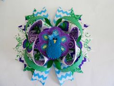 Peacock Boutique Hair bow by AllThingsGirlyBows on Etsy