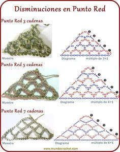Punto red - Crochet stitch - вязание крючком пунктов Punto Red Crochet, Crochet Cord, Freeform Crochet, Crochet Diagram, Irish Crochet, Crochet Motif, Crochet Shawl, Crochet Stitches Patterns, Macrame Patterns