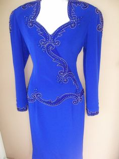cobalt+blue+specials | Vintage 80s Couture Cobalt Blue Beaded Dress by GLAMOURGIRLCHIC,