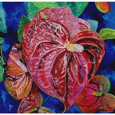 Valentine Heart Red Anthurium Reverse Acrylic Painting by Marionette... ($149) ❤ liked on Polyvore featuring home, home decor, wall art, garden wall art, red painting, hawaiian wall art, heart wall art and heart painting