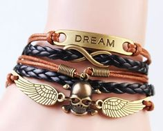Vintage Leather Bracelets Unisex Weave Dream Angle Wings Skull Bracelets Gifts For Lovers Hand Jewelry Korean Style Charm Braclets Silver Rings For Women From Janet521, $1.21| Dhgate.Com