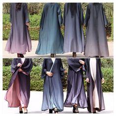Abaya gradient ombré black chiffon style modern