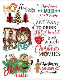 Christmas Waterslide Images \ laser printed / laser decals / tumbler supplies \ yeti decals *Waterslide Ready To Use* Christmas Quotes, Diy Christmas Gifts, Christmas Art, Holiday Crafts, Xmas, Fun Christmas Party Games, Sharpie Drawings, How To Make Glitter, Christmas Tumblers