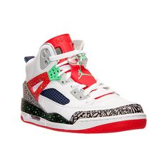 Nike Men's Air Jordan Spizike Off Court Shoes, Red|White ($150) ❤ liked on Polyvore featuring men's fashion, men's shoes, men's sneakers, mens sneakers, mens white leather shoes, nike mens shoes, mens shoes and mens red shoes