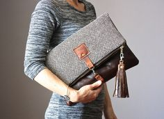 Leather and wool  fold over clutch fold over by VitalTemptation