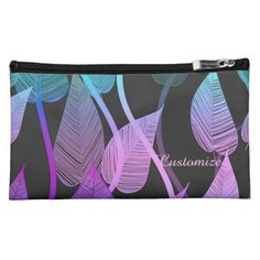 Colorful Summer Leaves Pattern Cosmetics Bag