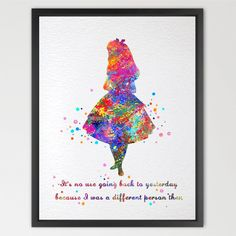 Dignovel Studios A4 Alice in Wonderland inspired watercolour Print Archival Fine…