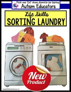 "For upper elementary, middle school and high school students working on life skills lessons. Students ""toss"" the clean laundry into the washing machine and choose the matching clean item to put into into the dryer! Life Skills Lessons, Life Skills Activities, Life Skills Classroom, Teaching Life Skills, Autism Classroom, Special Education Classroom, Preschool Life Skills, Preschool Ideas, Vocational Activities"