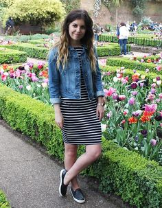 Kim Sweet Monday - Adidas Denim Jacket, Poppy Lux Dress, Topshop Slipons - Poppy Lux