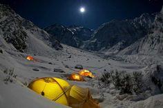 Full moon night in base-camp of the Killer Mountain Nanga Parbat