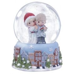 Couple Reading Card - Musical Water Globe