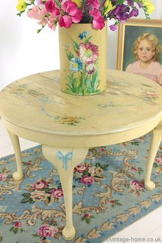 Vintage Home Shop - 1940s Hand Painted Roses Occasional Table: www.vintage-home.co.uk