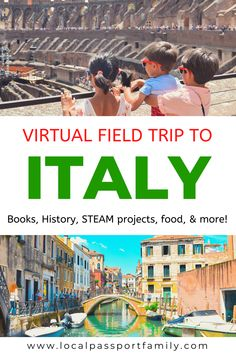 Interested in learning more about Italy with kids? Come join us on our virtual field trip, complete with art, history, writing, and food! Virtual Travel, Virtual Tour, Italy Geography, Italy For Kids, Virtual Field Trips, History Activities, Italy Tours, Of Montreal, Thinking Day