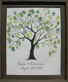 "Finger print tree - Love this idea for a ""guest book"" that we can actually enjoy!"