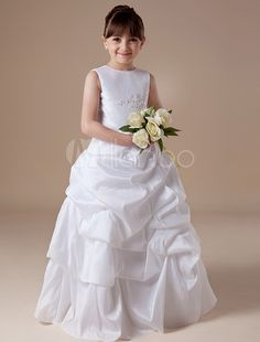 49a819554f8 White Ruched Bottom Vest Taffeta Flower Girl Dress  Bottom