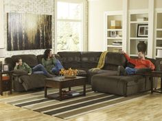 Everyone will love to gather on this sectional for watching TV or chatting with family and friends. Textured microfiber adds contemporary style to this comfortable reclining sectional with a right press back chaise, armless recliner, and left arm facing recliner