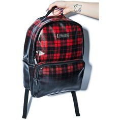 Kill Star Tartan Backpack ($75) ❤ liked on Polyvore featuring bags, backpacks, backpack, leather rucksack, black leather backpack, leather knapsack, plaid backpack and black leather rucksack