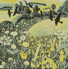 """Harvest time"" by Annie Soudain (linocut) #suffolkinspiration #naturalcurtaincompany"