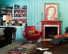 Turquoise And Red Livingroom Design, Pictures, Remodel, Decor and Ideas - page 64