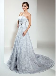 A-Line/Princess Strapless Chapel Train Lace Wedding Dress With Beading (002000173) - JJsHouse