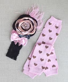Another great find on #zulily! Pink & Brown Legwarmers & Flower Headband by Zuzu Petals #zulilyfinds