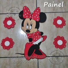Painel Minnie Vermelha ou Rosa <br>Fazemos outros temas consulte nos <br>Brinde flores quantidade a escolha de 01,02, 03 ou 04!!