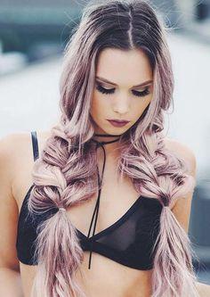 Укладка на длинные волосы | Фото | Красивая укладка в домашних условиях | лиловые волосы, прическа стиль