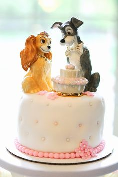 Our Disney Lady and the Tramp cake toppers.  These were so unique and I couldn't resist having dogs on the wedding cake! (cake toppers by Lenox)