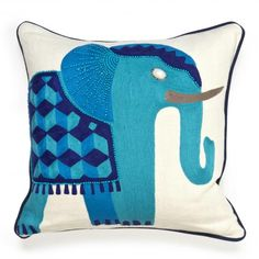 jaipur elephant pillow blue, cerulean, indigo, ivory