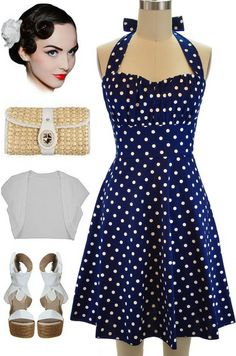 Brand New in store at Le Bomb Shop! PLUS SIZE Navy Blue Betty Halter Sun Dress.. Only $35 with FREE U.S. S/h... find them here: http://lebombshop.net/products/betty-sun-dress-navy-blue-polka-dot-1