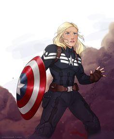 FEM captain America Marvel art, Captain america art