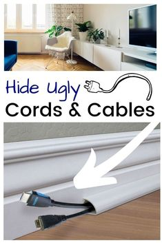 Remodeling ideas on a budget for you living room, bedroom or kitchen. Organize a messy tv stand using a baseboard cord channel to disguise and hide ugly cords on the floor leading to a mounted TV or computer in your home or basement. DIY a cheap and Home Projects, Diy Remodel, Diy Home Improvement, Home Remodeling, Cheap Home Decor, Home Decor, Home Renovation, Home Diy, Diy Home Decor On A Budget