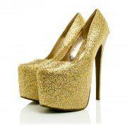 Kyleigh Stiletto 7 Inch Heel Concealed Platform Court Shoes - Gold Glitter