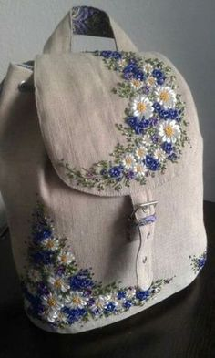 Very stylish linen bag, decorated with embroidery. Special care is required, wa. Very stylish linen bag, decorated with embroidery. Embroidery Bags, Silk Ribbon Embroidery, Hand Embroidery Patterns, Embroidery Stitches, Machine Embroidery, Embroidery Designs, Embroidery Supplies, Flower Embroidery, Embroidery For Beginners