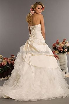 Picture of Ivory Organza Strapless Beaded Lace Ballgown Wedding Dresses