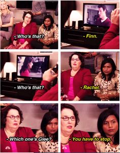 Phyllis and Kelly tried watching Glee. When Phyllis and Kelly tried watching Glee. Office Memes, Office Quotes, The Office Characters, The Office Show, Office Tv, Glee Memes, The Mindy Project, Michael Scott, Book Tv