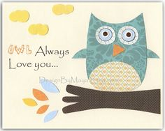 Nursery wall art print Baby boy room decor Owls by DesignByMaya, $17.00